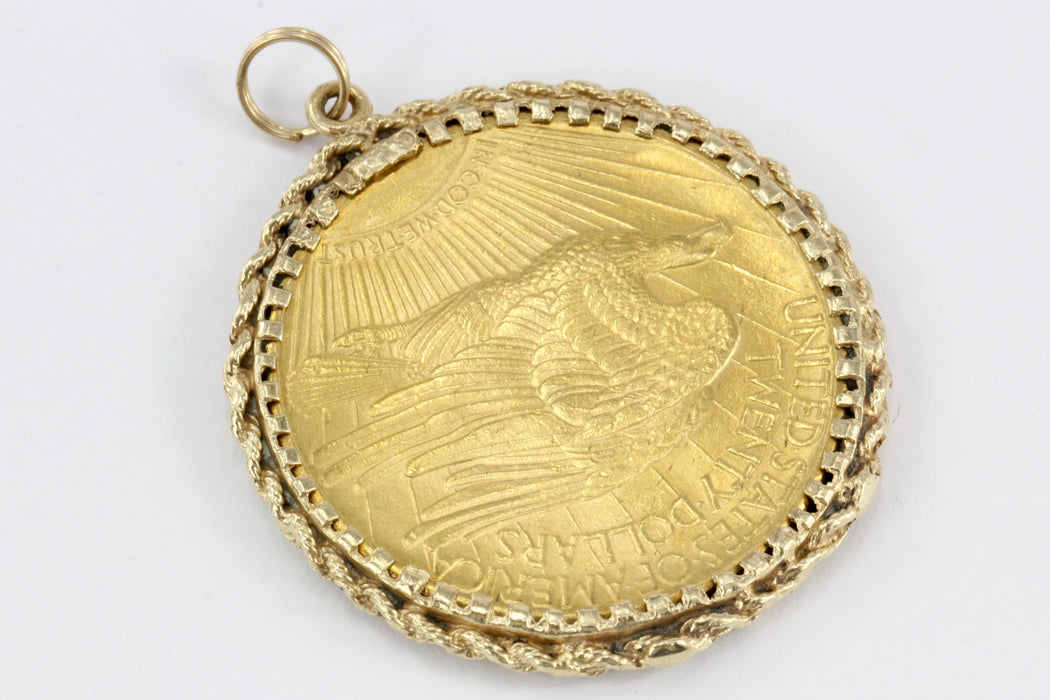1915 Twenty Dollar Gold St. Gaudens Double Eagle Coin in Custom 14K Yellow Gold Bezel - Queen May