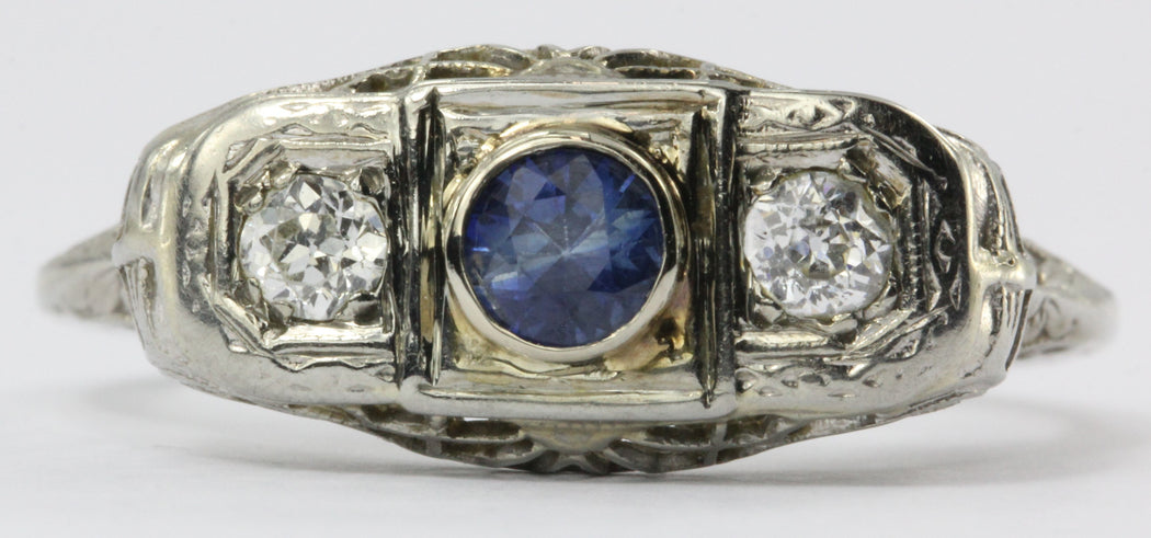 Antique Art Deco 18K White Gold Sapphire & Diamond Ring - Queen May