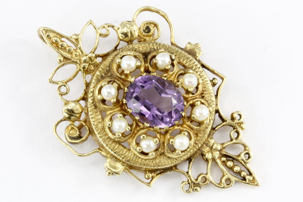Victorian Revival 14K Yellow Gold 3 Carat Amethyst and Pearl Brooch Pendant - Queen May