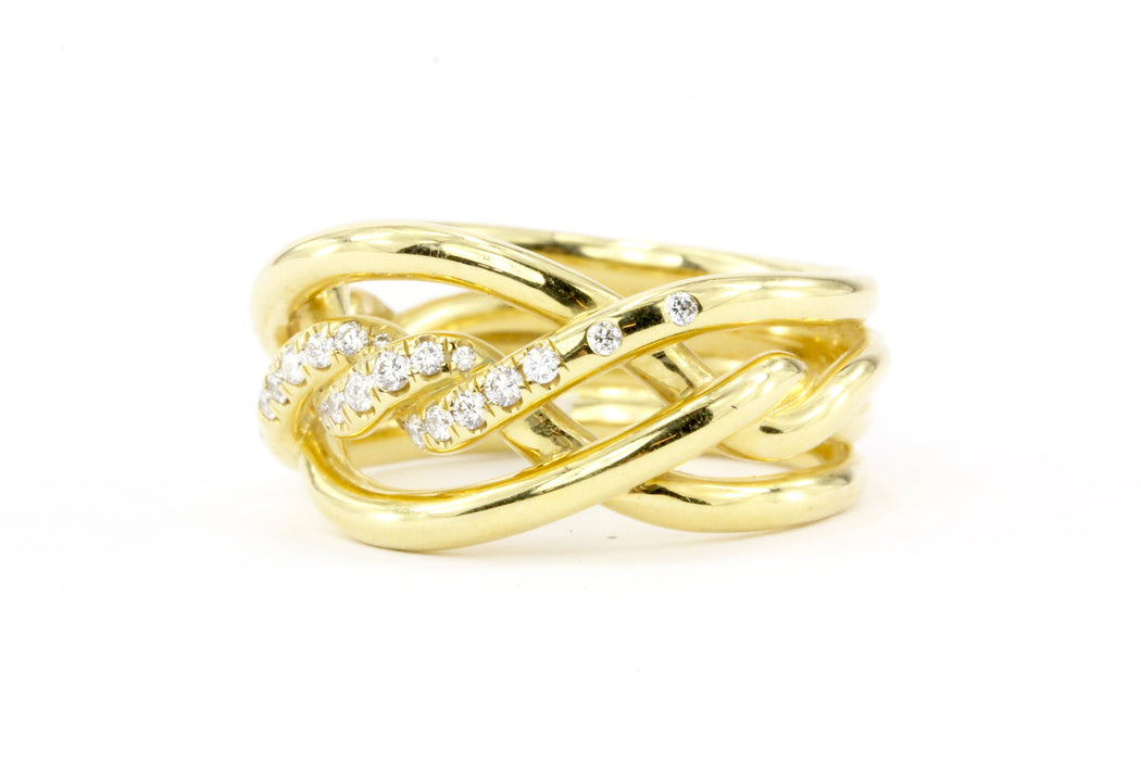 David Yurman Continuance Collection Diamond & 18K Gold Ring 11.5 mm - Queen May