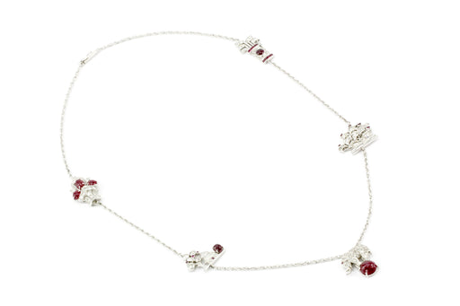 Art Deco White Gold & Platinum Diamond & Ruby Station Necklace c.1920's - Queen May