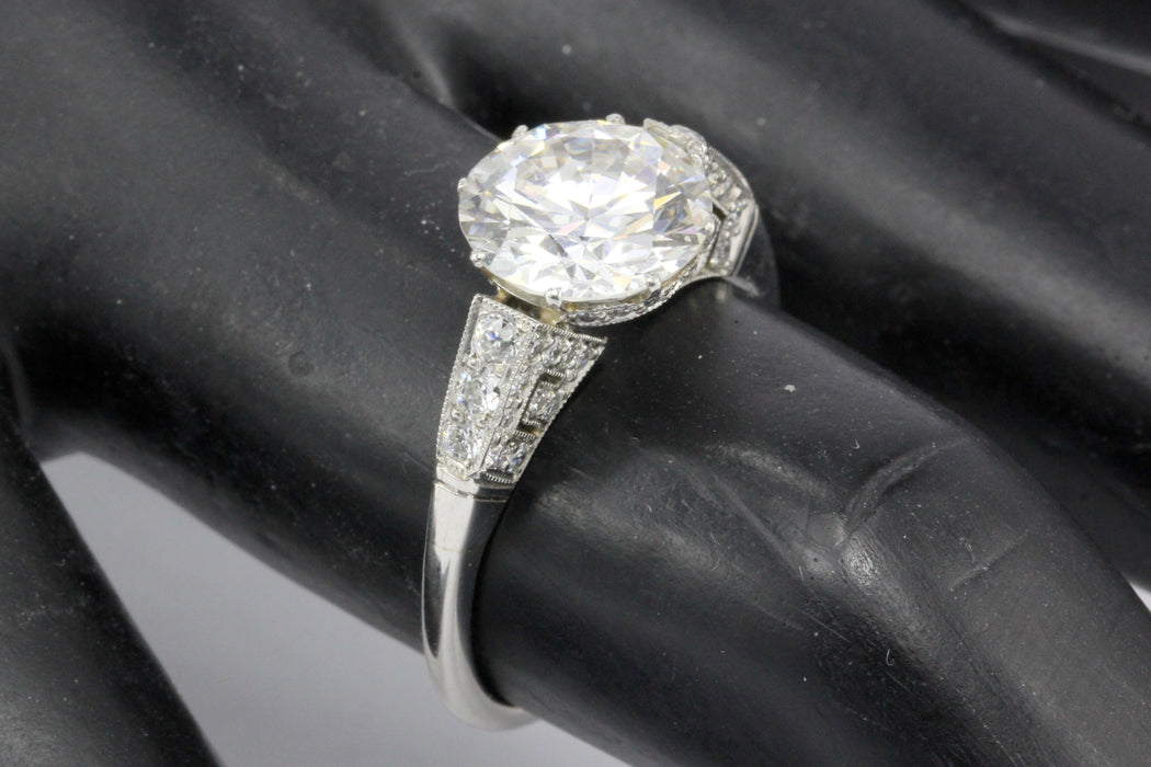 Art Deco Style Platinum 2.6 CTR Old European Cut Diamond Ring - Queen May