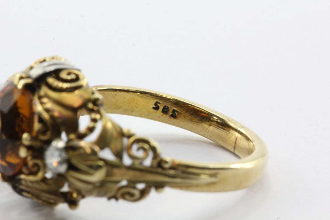 Art Nouveau Revival 14K Gold Citrine Diamond Ring - Queen May