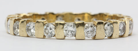 Vintage 14K Gold 1 CTW Diamond Eternity Band Ring Size 7.5