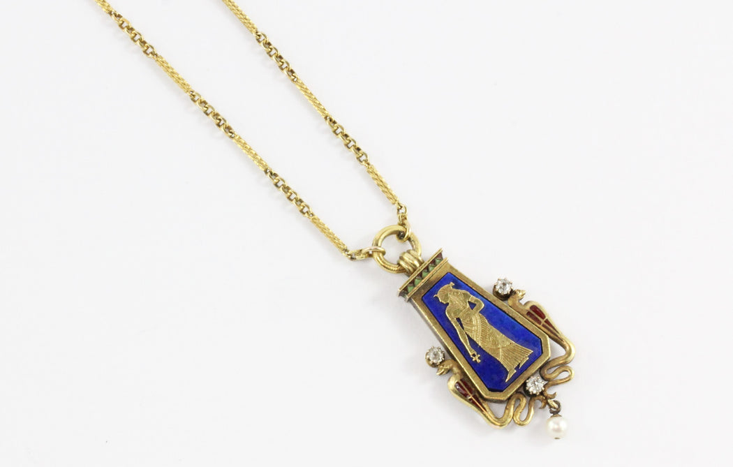 Austrian Carl Bacher Egyptian Revival Enamel Lapis Diamond Gold Necklace - Queen May