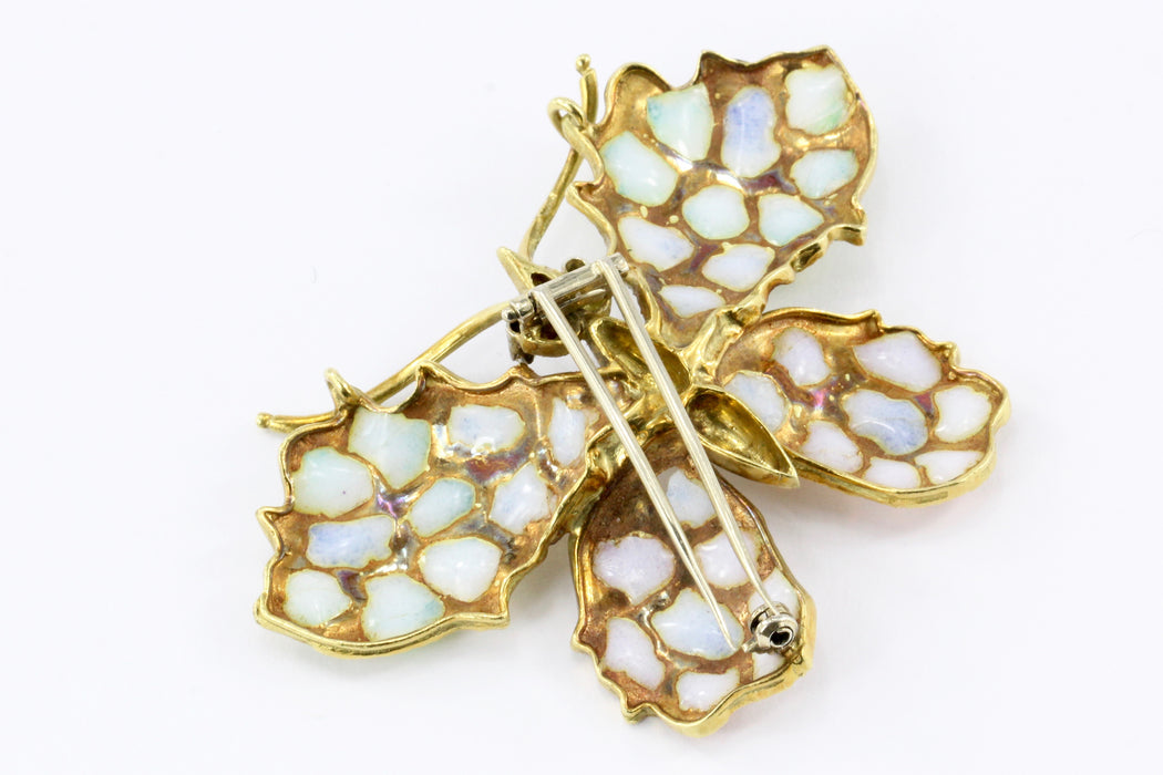 Retro Art Nouveau Revival 18K Yellow Gold Plique a Jour Enamel Butterfly Brooch - Queen May