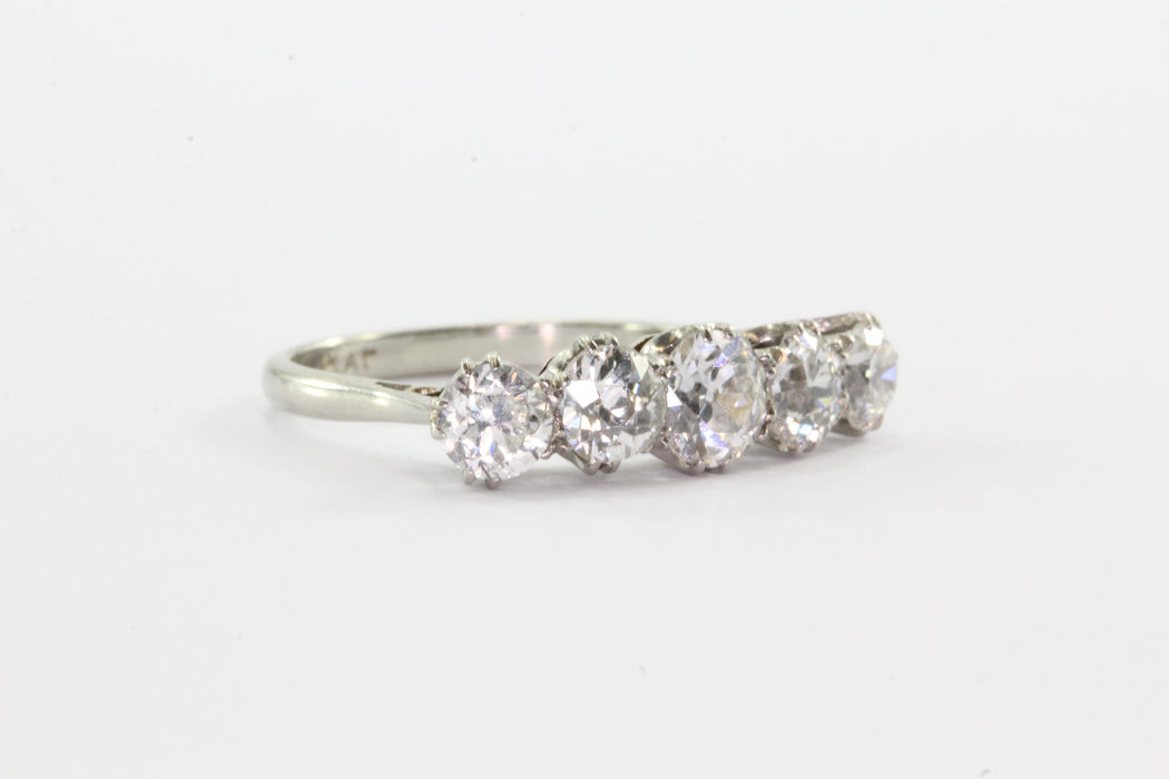 18k White Gold Platinum 1.75 Carat 5 Old European Cut Diamond Ring Band - Queen May