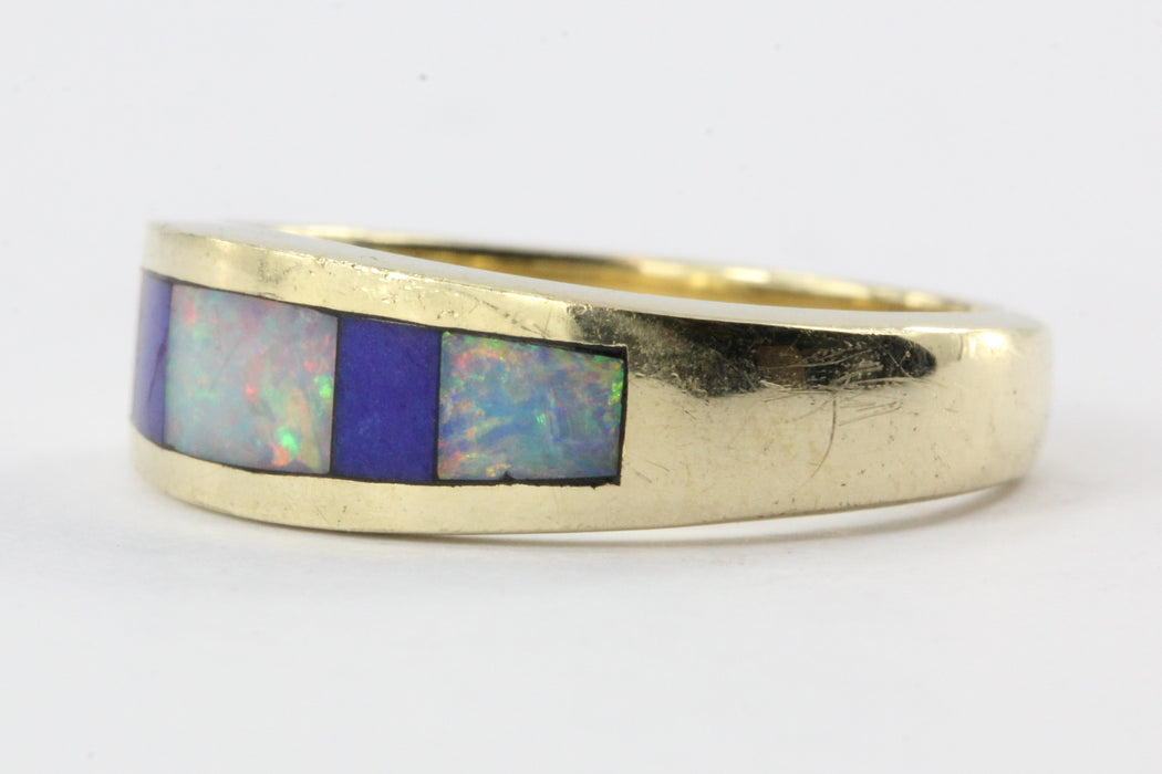 14K Gold Lapis & Opal Inlaid Band Ring - Queen May