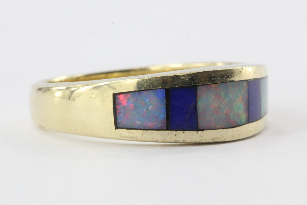 14K Gold Lapis & Opal Inlaid Band Ring