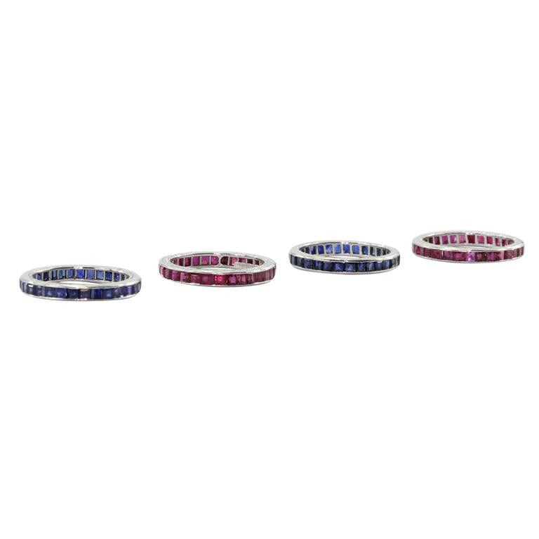 4 Stackable Art Deco Tiffany & Co Platinum Ruby Sapphire Eternity Bands c.1930
