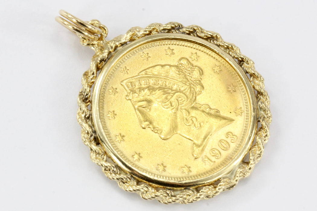 1903 Five Dollar Half Eagle US Gold Coin Braided Bezel Pendant - Queen May