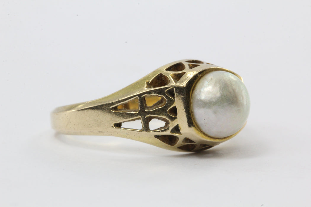 Vintage 14K Gold & 6.7mm White Pearl Engagement Ring - Queen May