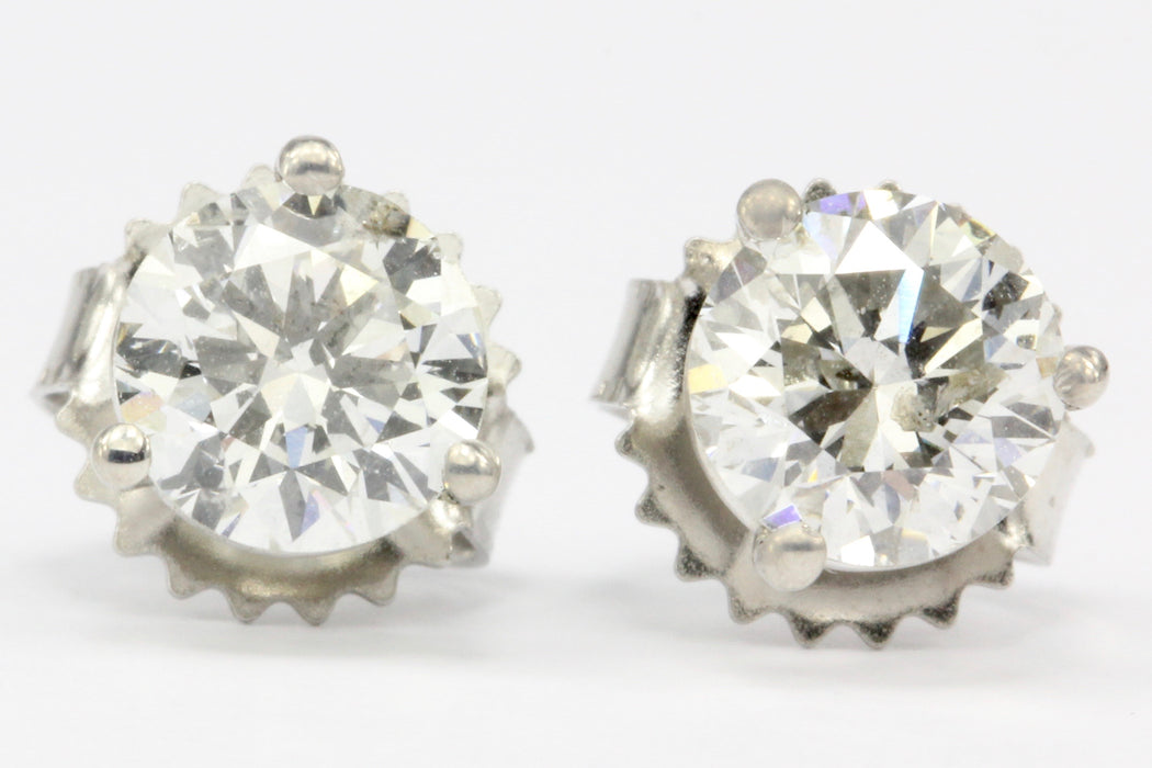 1.17 CTW Diamond 14K White Gold Earring Studs - Queen May
