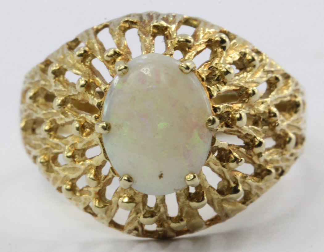 Vintage 18K Gold 1 Carat Opal Volcano Ring - Queen May