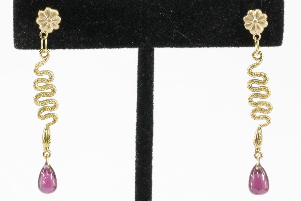 14K Yellow Gold Snake and Rhodolite Garnet Teardrop Post Earrings - Queen May