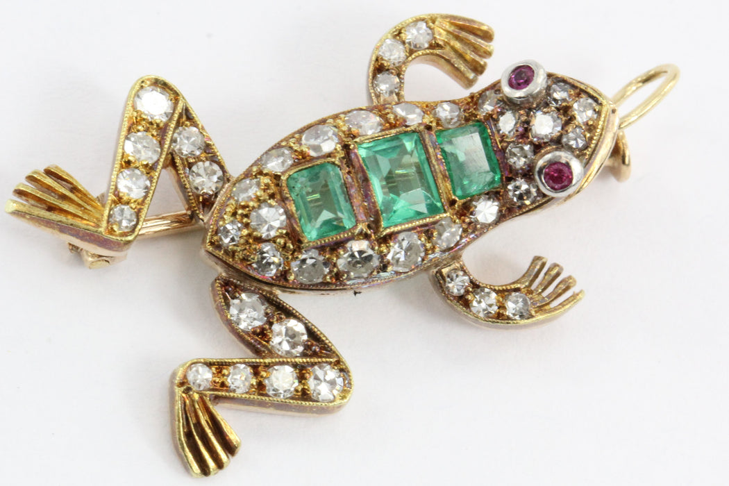 Vintage 18K Gold Diamond Ruby & Emerald French Frog Pendant / Brooch