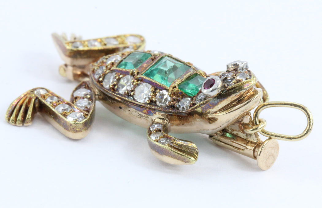 Vintage 18K Gold Diamond Ruby & Emerald French Frog Pendant / Brooch - Queen May