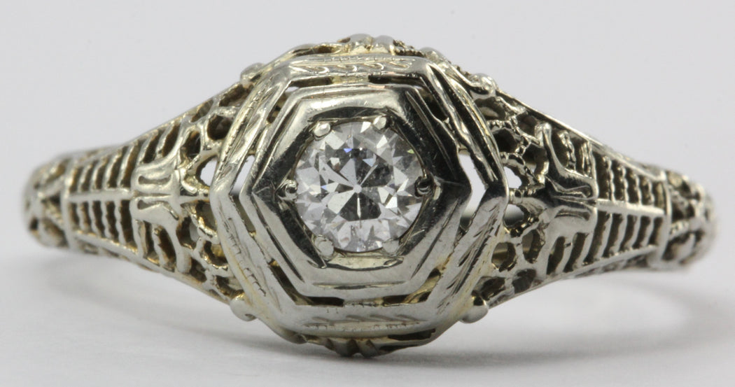 Antique Art Deco 18K White Gold Diamond Engagement Ring by Ciner Co of New York - Queen May