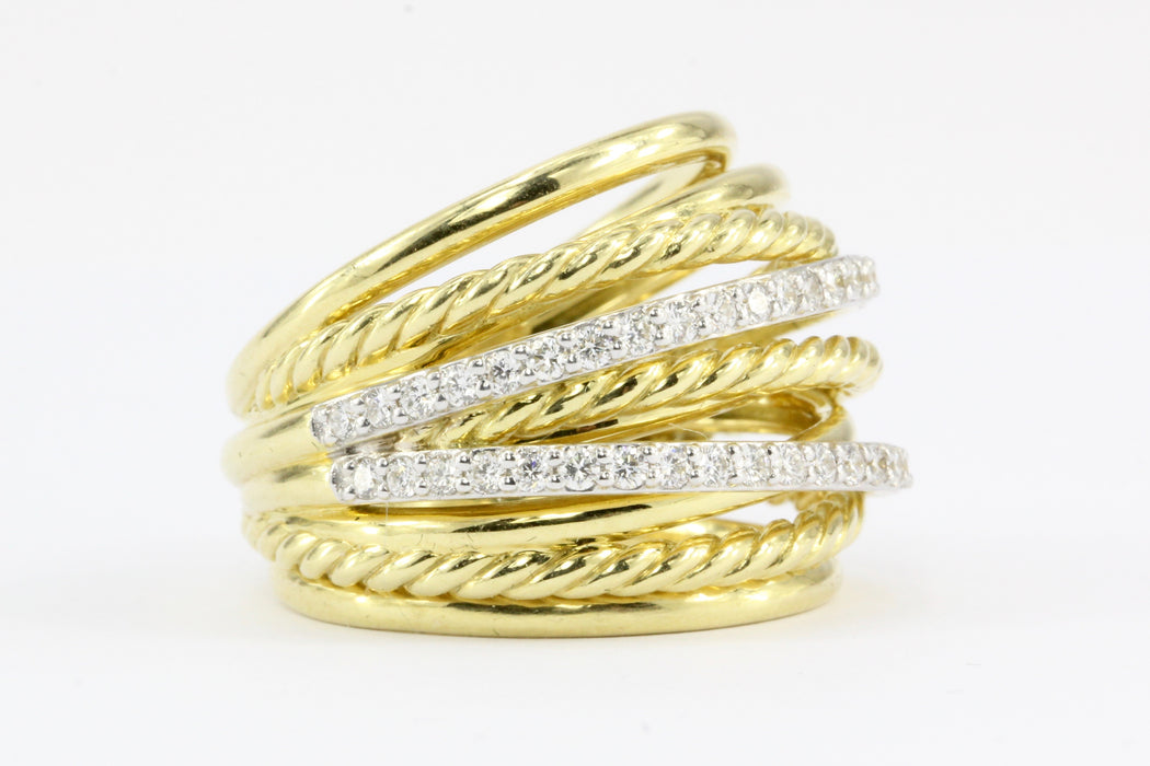David Yurman Crossover Rope Domed 18K Yellow Gold Diamond Band