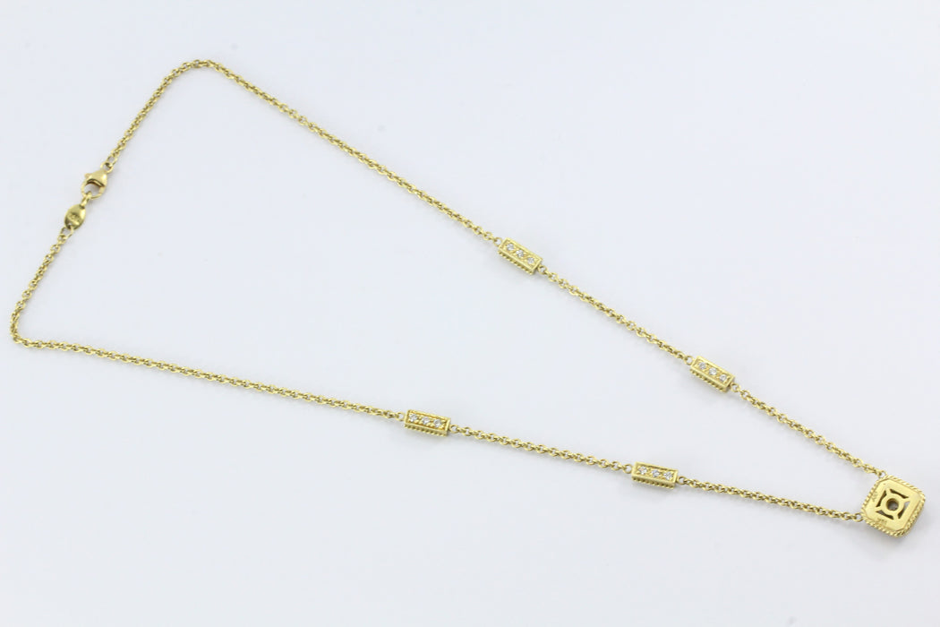Vintage Penny Preville 18K Gold & 3/4 Carat Diamond Necklace - Queen May