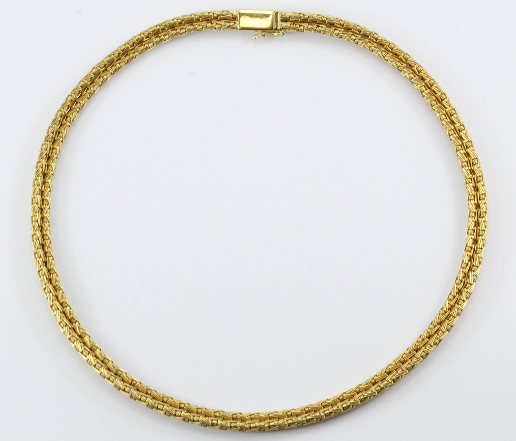 Vintage Roberto Coin 18K Gold Woven Silk Necklace - Queen May