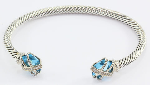David Yurman Sterling Silver Cable Wrap with Blue Topaz Diamond Cuff Bracelet