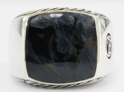 David Yurman Sterling Silver Cable Pietersite Mens Ring Size 8.75