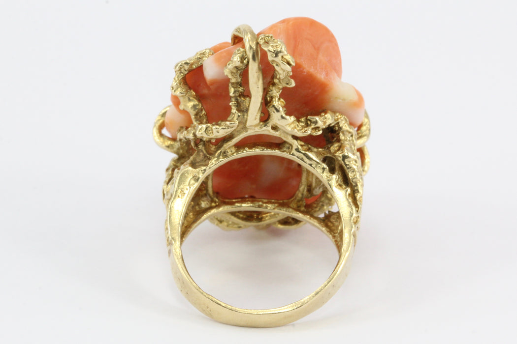 Retro 14K Yellow Gold Coral Carved Flower Cocktail Ring Size 7 - Queen May