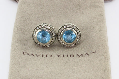 David Yurman Cerise Blue Topaz Diamond Round Earring Sterling Silver Studs