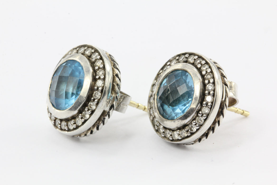 David Yurman Cerise Blue Topaz Diamond Round Earring Sterling Silver Studs - Queen May