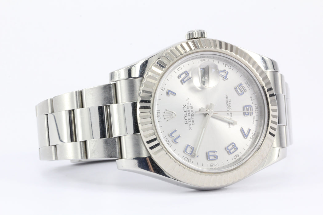 Rolex Datejust II 41mm 18k Fluted White Gold Bezel Rhodium Dial 116334 - Queen May