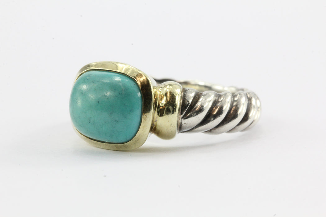 David Yurman Noblesse Sterling Silver 14K Gold Turquoise Ring Size 6 - Queen May