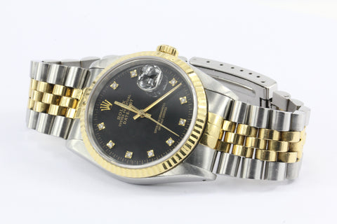 Rolex Oyster Datejust Gold & Steel 16233 Automatic Black Diamond Dial Watch