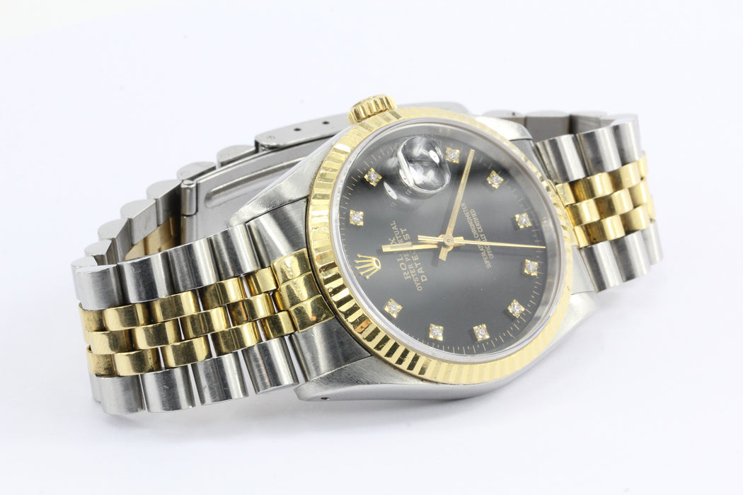 Rolex Oyster Datejust Gold & Steel 16233 Automatic Black Diamond Dial Watch - Queen May