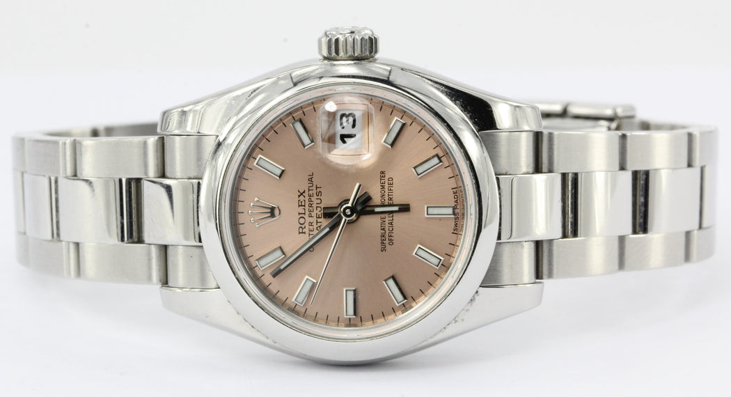 Rolex Ladies Datejust 179160 Stainless Steel Pink Dial in box - Queen May