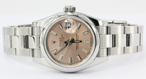 Rolex Ladies Datejust 179160 Stainless Steel custom PINK DIAL in box