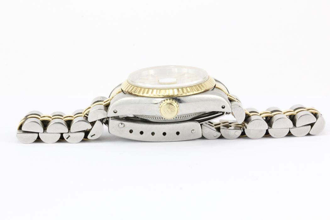 Rolex Ladies Datejust 69173 Stainless Steel & 18K Yellow Gold Silver Dial - Queen May
