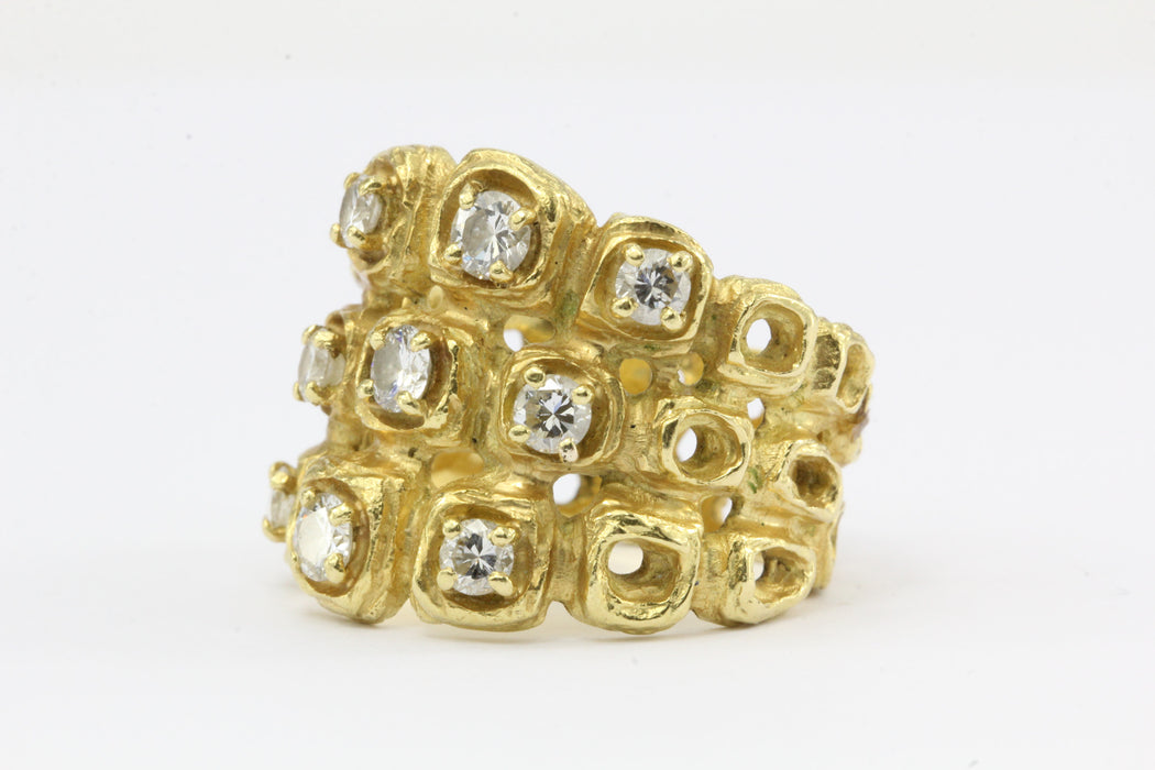 18K Gold Chunky Modernist Italian Honeycomb Diamond Ring c.1970 - Queen May