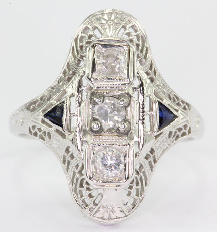 Art Deco 18K White Gold Diamond & Sapphire Engagement Ring c.1920