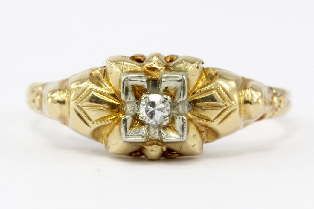 Antique Art Deco 14K Gold & Diamond Engagement Ring Size 5.5 - Queen May