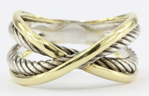David Yurman 18k Gold Sterling X Crossover Cable Ring Size 8.75