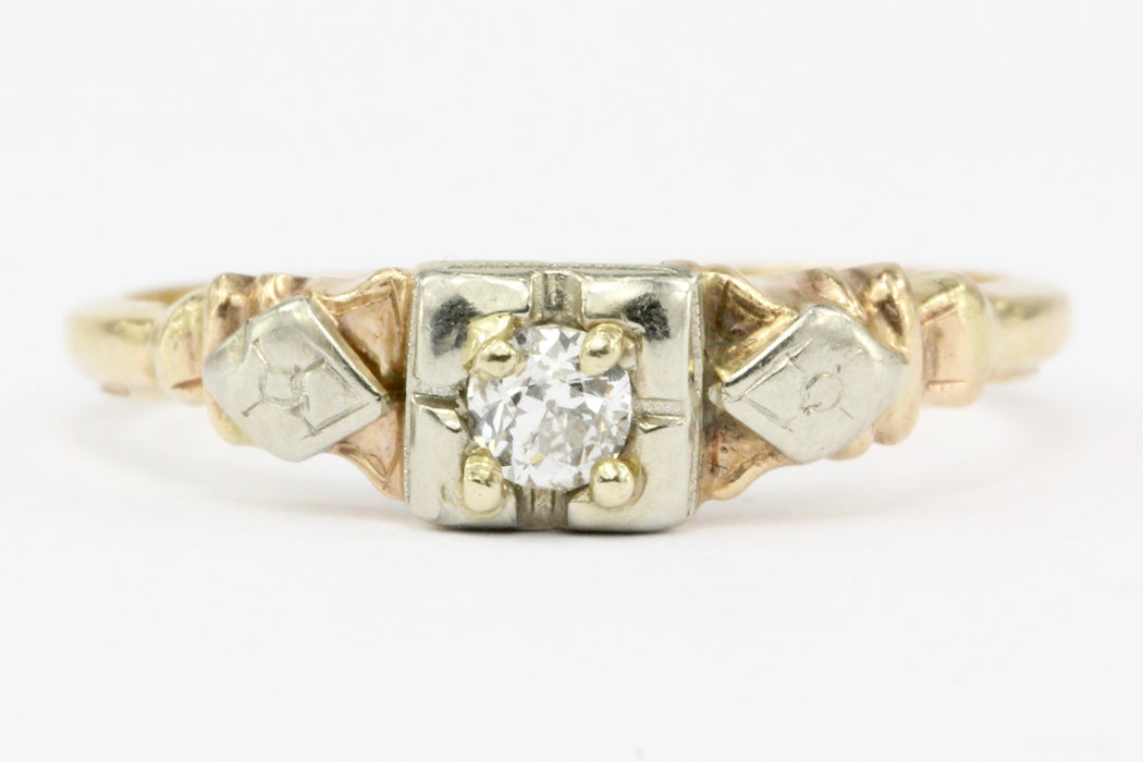 Antique Old European Cut Diamond 14K Gold Low Profile Engagement Ring Size 6.5 - Queen May