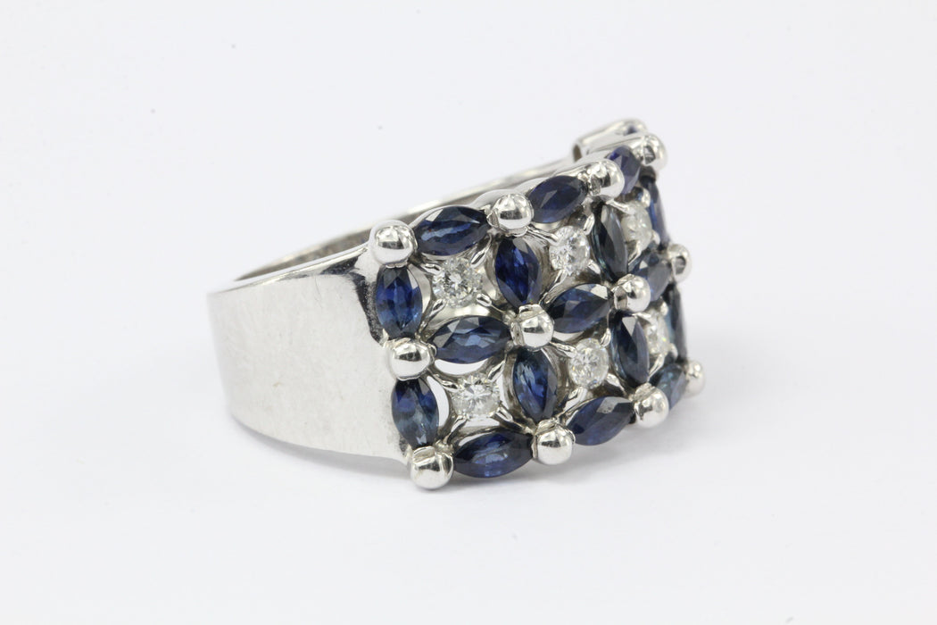 14K White Gold Blue Sapphire & Diamond Roman Fence Ring - Queen May