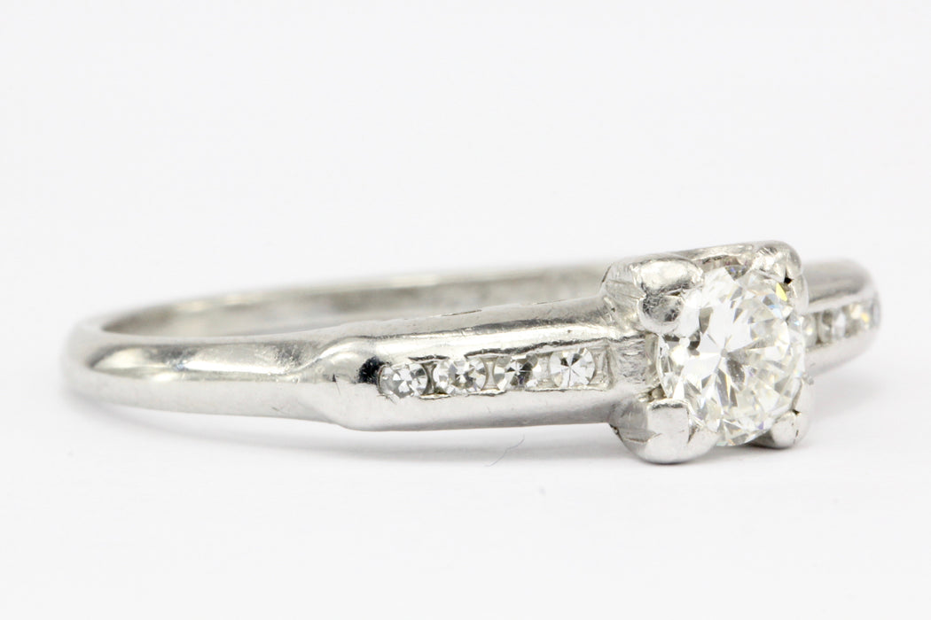 Vintage Platinum & Diamond Transition Cut Engagement Ring Signed STS - Queen May
