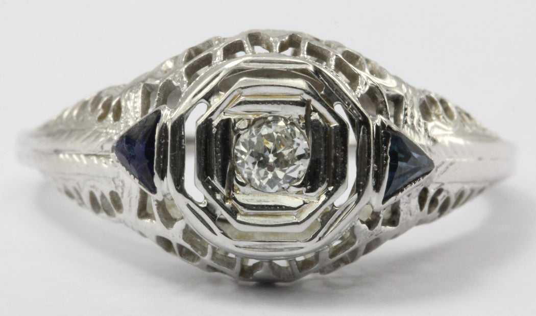 Antique Art Deco 18K White Gold Old European Diamond & Sapphire Engagement Ring - Queen May