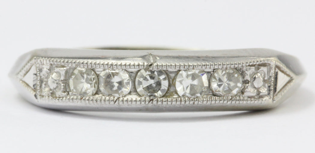 Art Deco 18K Gold & Palladium Single Cut Diamond Ring Band Size 2.5 - Queen May