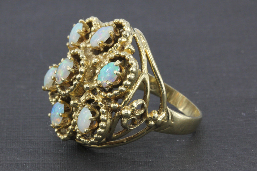 Mid Century 14K Yellow Gold Opal Flower Cocktail Ring Size 7 - Queen May