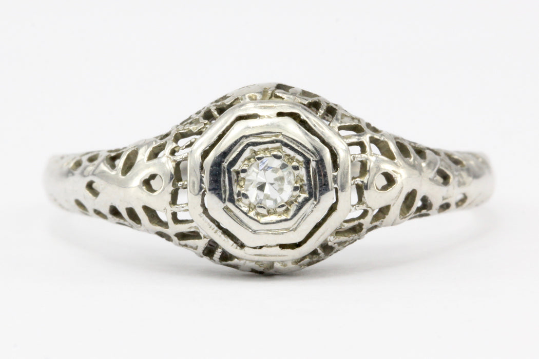 Art Deco 18K White Gold .05 CT Diamond Filigree Engagement Ring Size 8 - Queen May