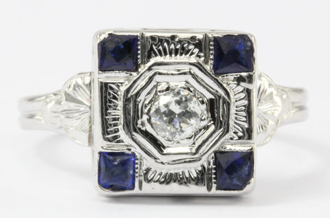 Art Deco 18K White Gold Sapphire & Diamond Engagement Ring c.1925