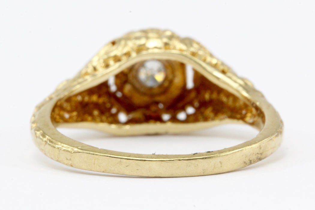 Victorian Style 14K Gold Diamond Engagement Ring - Queen May